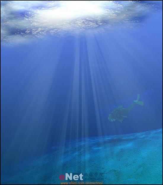 用photoshop设计炫蓝神秘的海底世界