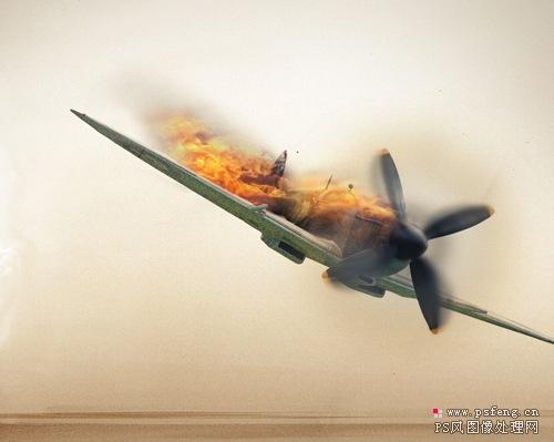 PhotoShop合成燃烧着坠落的飞机[中国PhotoS