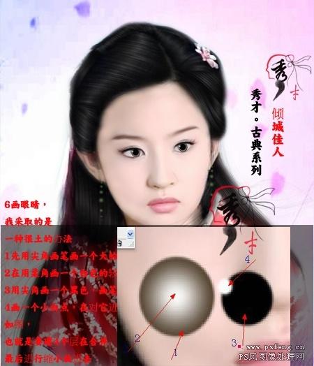photoshop给古典刘亦菲转手绘教程[中国photoshop