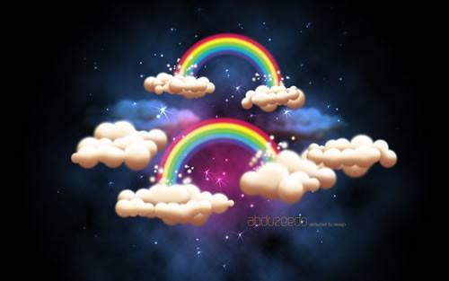 云朵,彩虹,星星和夜空的场景