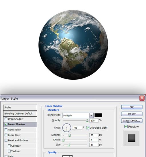 PhotoShop CS4制作逼真的立体地球