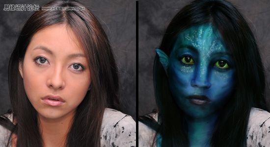ps将美女照片变脸成阿凡达的纳美人中国photoshop网