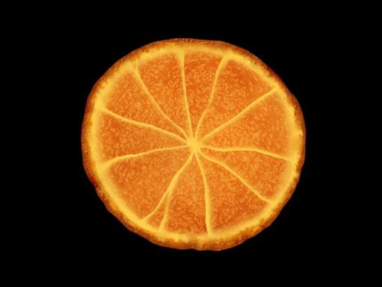 """800)this.style.width=800;"""" border=""""0"""" alt=""""按此在新窗口浏览图片"""" /> 第十六步:   新建一层,取名色彩,我们用它来修饰橙子的色彩。同样给它套上蒙版。使用一个较大的软笔刷,不透明 度设为20%左右,采用较明亮的黄色来在橙子中心部位和外边缘涂抹,这种方法能创造一个微妙的立体感出来, 使整个橙子更真实一些。现在看上去是不是很可口了"""