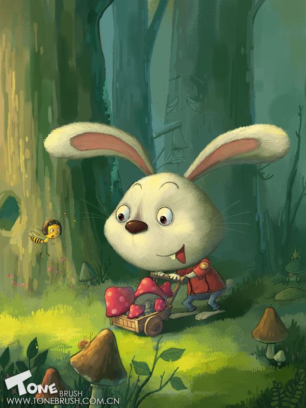 铅笔画可爱小白兔