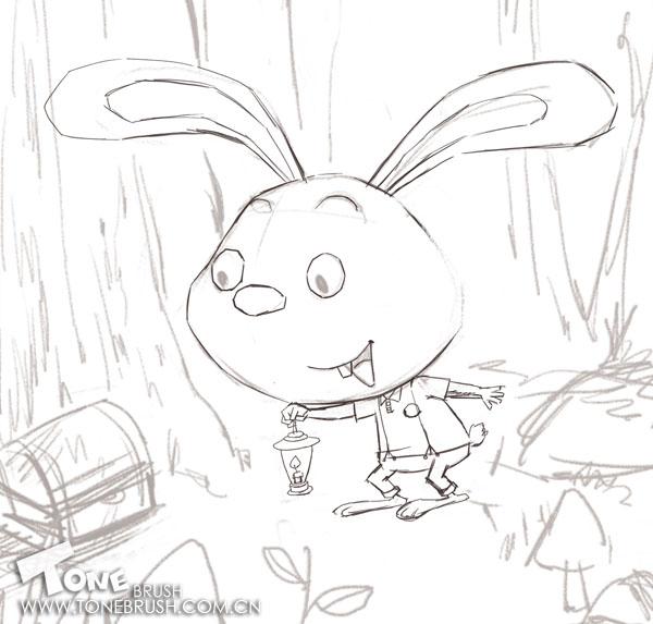 可爱兔子铅笔素描画