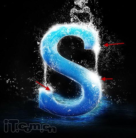 photoshop创意制作被水淋的海洋艺术字教程