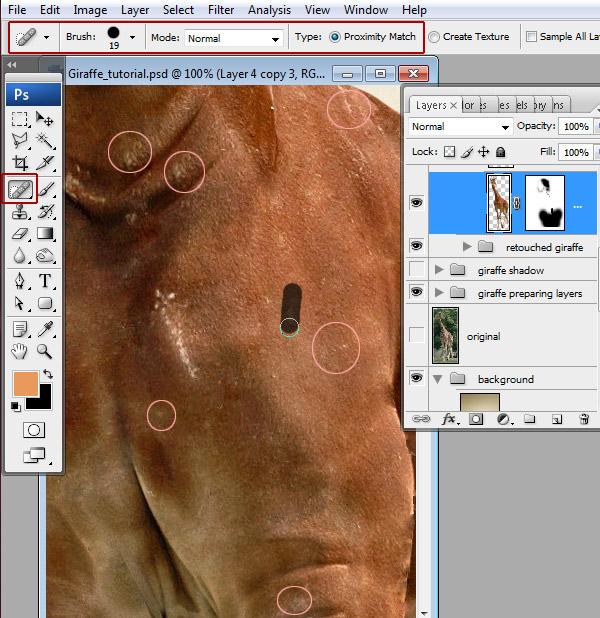 步骤19 面膜修补工具和污点修复画笔工具的小缺陷.