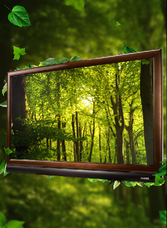 ps合成制作绿色森林主题液晶电视数码产品广告效果图