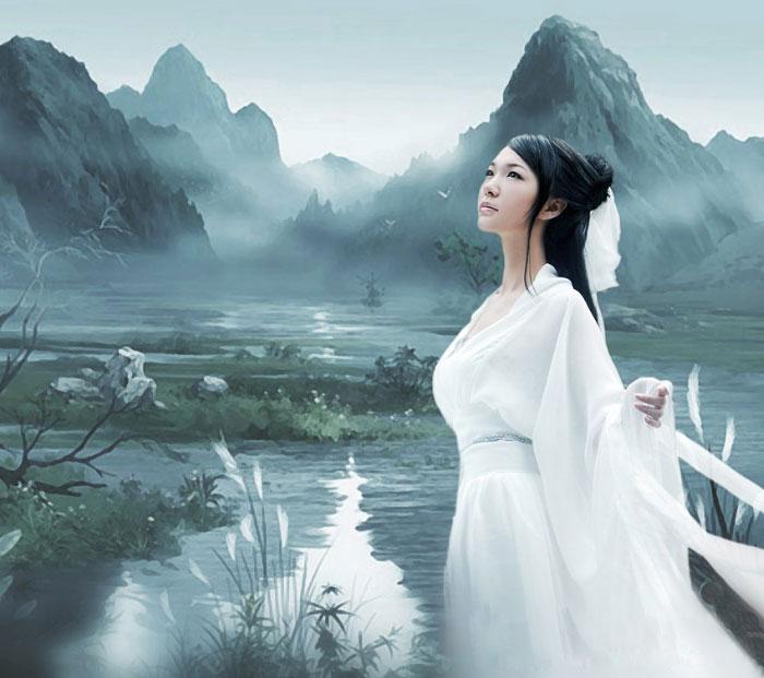 PhotoShop制作中国风倾国倾城美女古典卷轴画