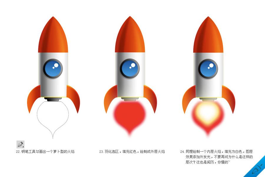 photoshop绘制可爱的卡通火箭的教程[中国photoshop