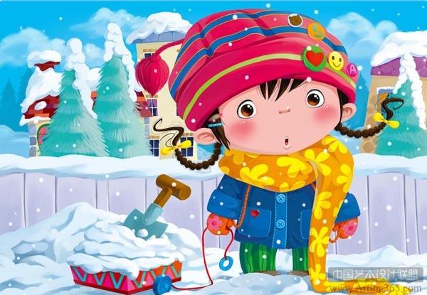 ps绘制可爱的雪地里的小女孩儿童插画绘制教程[中国