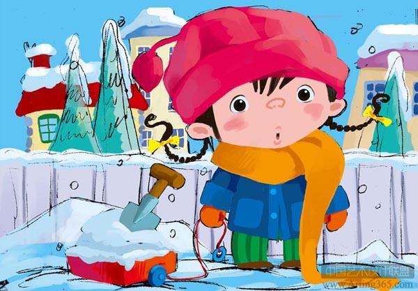ps绘制可爱的雪地里的小女孩儿童插画绘制教程