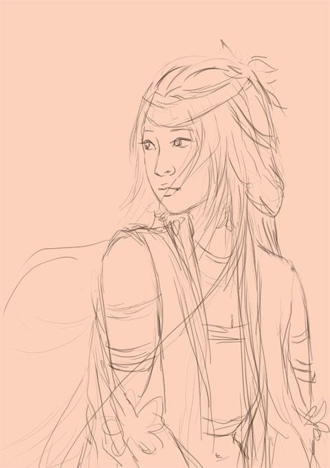 古剑奇谭 巽芳公主唯美古装言情风格插画过程