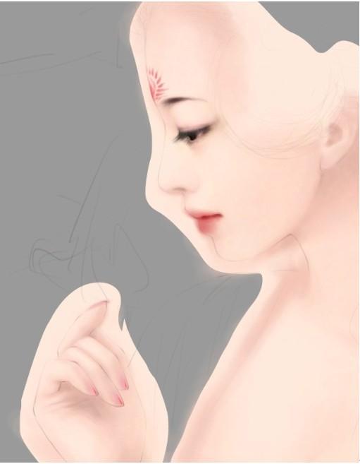 PS鼠绘白皙如玉的言情风唐朝古装美女MM效果