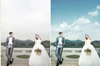 照片_ps给婚纱照片添加天空素材影楼后期调色教程