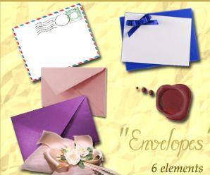 信封、丝绸花装饰画笔.6支-PS笔刷下载 PS资源 婚纱模板,儿童模板