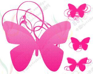 抽丝条纹蝴蝶画笔.4支-PS笔刷下载 PS资源 婚纱模板,儿童模板,台