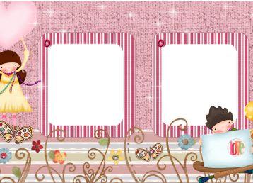 剪贴风格春天的花朵儿童照片相框素材高清