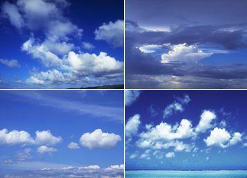 4张干净的蓝色天空云层/云海素材高清图片下载