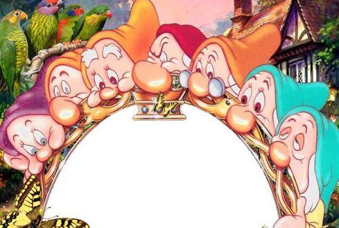 儿童模板.白雪公主与七个小矮人照片模板.psd
