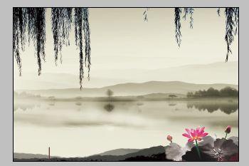婚纱模板.水墨山水中国古典婚纱背景素材.psd