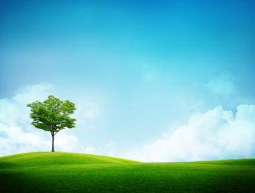 蓝天白云青草地风景图片素材