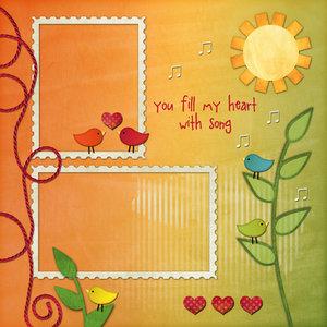 儿童模板.太阳小鸟邮票边框照片模板.psd