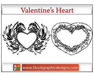 2支情人节心形边框PS笔刷下载-边框花纹 PS资源 婚纱模板,儿童模