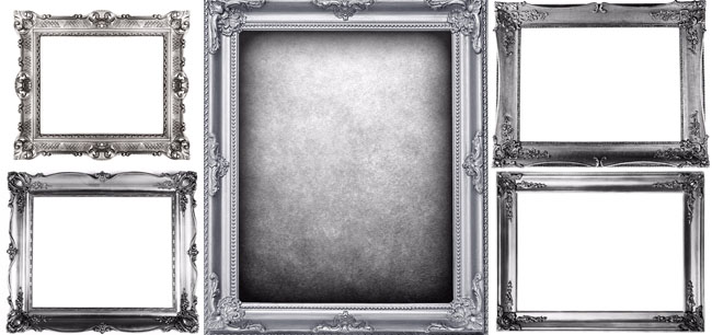 5张高清银色欧式华丽雕花纹画/相框素材图片打包