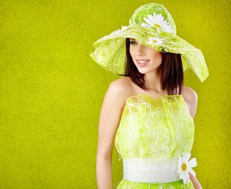 春天绿色系模特人像摄影高清图片下载1