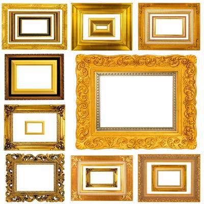 多款白底的华丽金色古典照片相框素材高清图片下载1