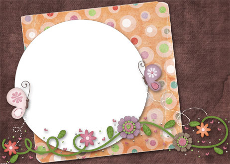 剪贴风格春天的花朵儿童照片相框素材高清图片下载2