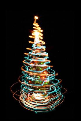 黑背景流线荧光圣诞树圣诞素材高清图片下载4