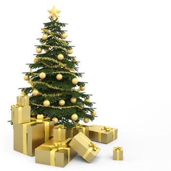 白背景金色系礼物与圣诞树素材高清图片下载3