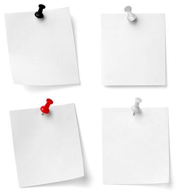 白背景图钉钉着的白纸办公素材高清图片下载
