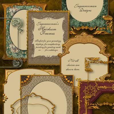 19款高清欧洲华丽复古金色花纹照片边框png图片素材打包下载
