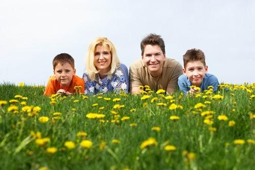 趴在野花草地上的一家四口外国家庭高清图片素材下载