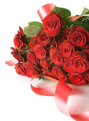 喜庆彩带红色玫瑰花素材高清图片下载