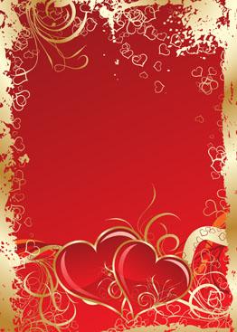 浪漫情人节红色心形花纹爱情背景素材高清图片下载1