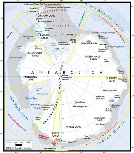 世界地图之南极洲地图高清图片素材下载