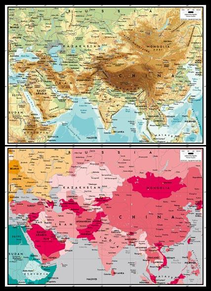 世界地图之亚洲中心地图高清图片素材下载