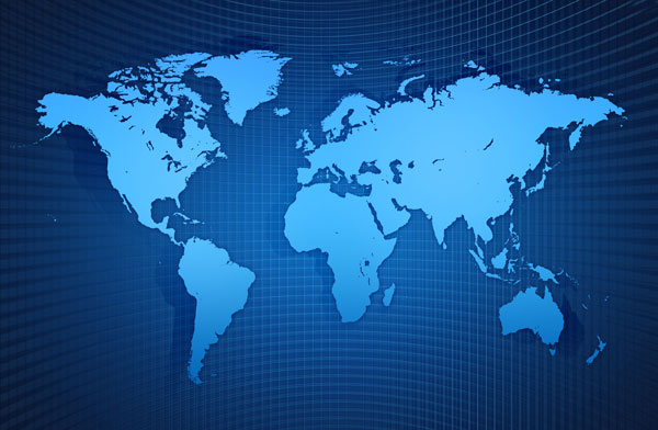 蓝色网格背景世界地图素材高清图片下载 [中国资源网