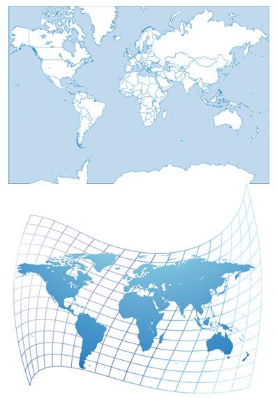 两幅简单的世界地图高清素材