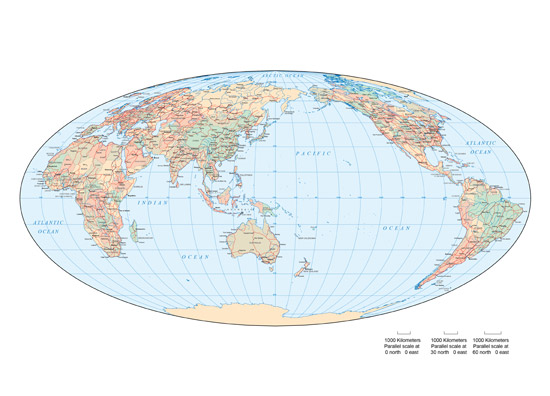 彩色椭圆世界地图之东亚地图高清素材图片下载 [中国