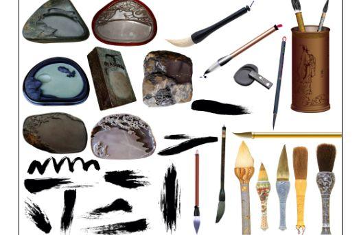 源文件  软件语言:简体中文】 多款毛笔,砚台,墨迹等中国风素材.