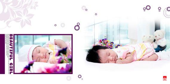 完美宝宝系列影楼满月宝宝相册模板psd素材下载七(共11p)
