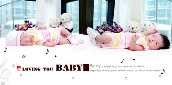完美宝宝系列影楼满月宝宝相册模板psd素材下载八(共11p)