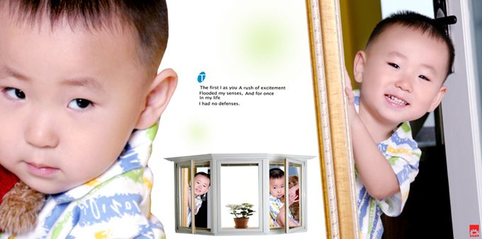 儿童样片阳光男孩系列宽幅影楼儿童相册模板psd素材五(共11P)  -