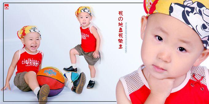 儿童样片阳光男孩系列宽幅影楼儿童相册模板psd素材七(共11P)  -