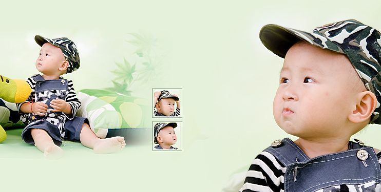 影楼宝宝样片精灵宝贝系列经典影楼儿童相册模板psd素材六(共10P